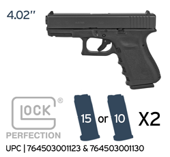 GLOCK 19 GEN 3 764503502194 IMAGE 10 or 15 rounds WITH 2 MAGS