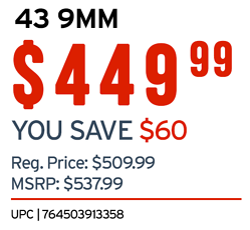 GLOCK 43 PRICE 449.99